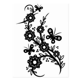 Chinese swirl floral design postcard