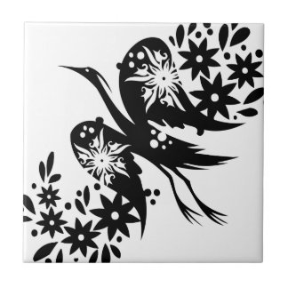 Chinese swirl floral design small square tile