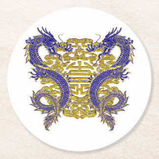 Chinese Symbol for Longevity and Dragons Round Paper Coaster
