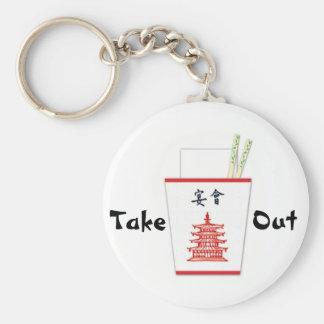 Chinese Take Out Basic Round Button Key Ring