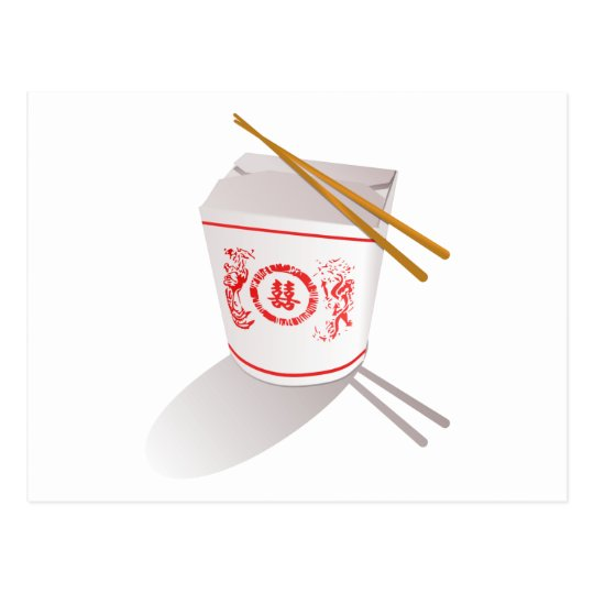 Chinese Take Out Food Box with Chopsticks Postcard