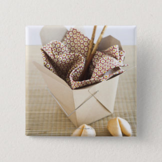 Chinese takeout container and fortune cookies 15 cm square badge