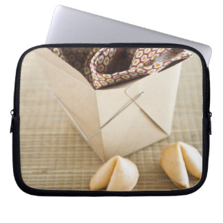 Chinese takeout container and fortune cookies laptop sleeve