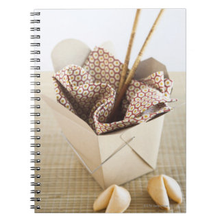 Chinese takeout container and fortune cookies notebook