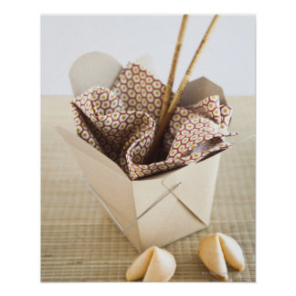 Chinese takeout container and fortune cookies poster