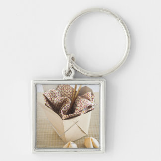 Chinese takeout container and fortune cookies Silver-Colored square key ring