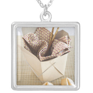 Chinese takeout container and fortune cookies silver plated necklace