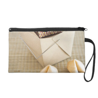 Chinese takeout container and fortune cookies wristlet clutch