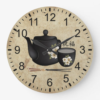 "Chinese tea for two ""Blessing"" Large Clock"