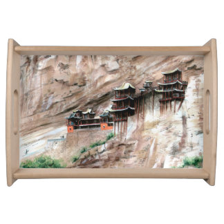Chinese temple on the mountains serving tray