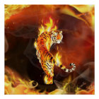 Chinese tiger painting poster