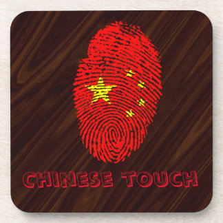 Chinese touch fingerprint flag coaster