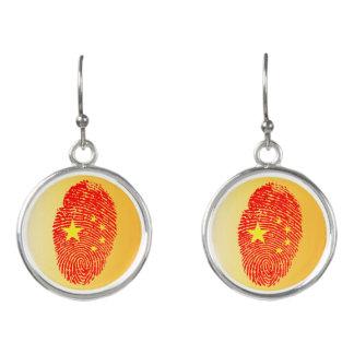 Chinese touch fingerprint flag earrings