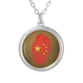 Chinese touch fingerprint flag silver plated necklace