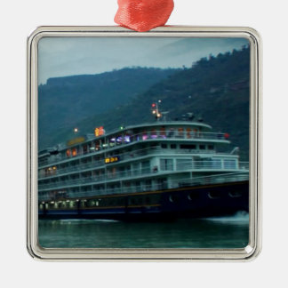 Chinese tourist boat in river Yangtz Christmas Ornament