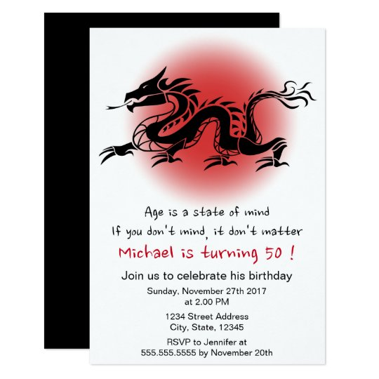 Chinese traditional dragon man's birthday party card