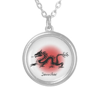 Chinese traditional dragon name silver plated necklace