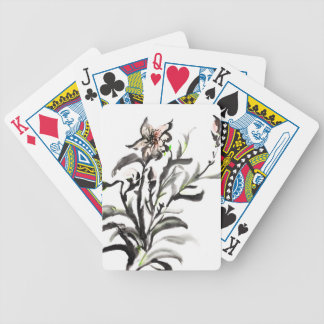Chinese traditional ink painting flowers bicycle playing cards