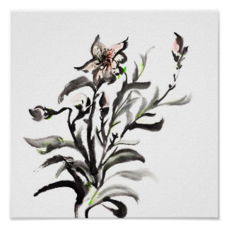 Chinese traditional ink painting flowers poster