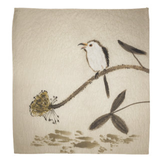 Chinese traditional ink painting with birds bandana