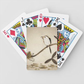 Chinese traditional ink painting with birds bicycle playing cards