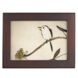 Chinese traditional ink painting with birds keepsake boxes
