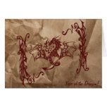 Chinese Tribal Dragon Old Crushed Paper Red Brown Card