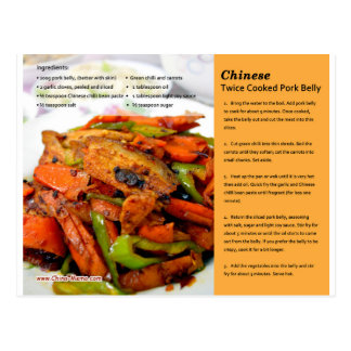 Chinese Twice Cooked Pork Belly Recipe Postcard