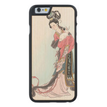 Chinese Vintage Art Girl Rabbit Wood Carved® Maple iPhone 6 Case