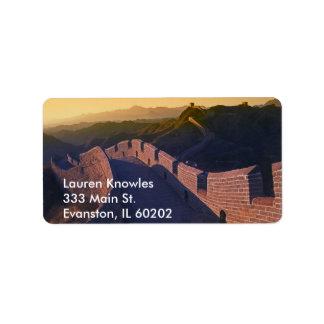 chinese wall address label