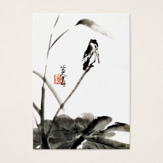Chinese watercolor painting, bird and lotus leaves business card