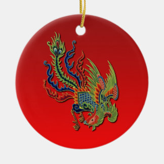 Chinese Wealthy Peacock Tattoo Design on Red Round Ceramic Decoration
