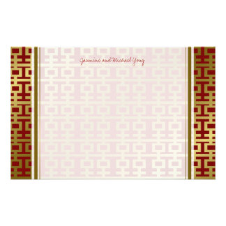 Chinese Wedding Double Happiness Pattern Thank You Customized Stationery