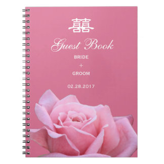 Chinese Wedding Elegant Pink Rose Guest Book