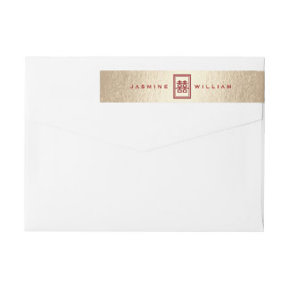 Chinese Wedding Red Double Happiness Address Label