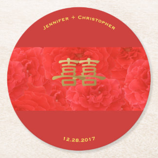 Chinese Wedding Red Rose Double Happiness Custom Round Paper Coaster