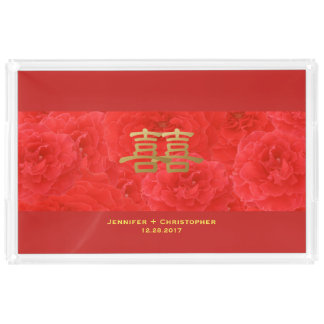Chinese Wedding Tea Set Sweet Red Rose Custom Acrylic Tray