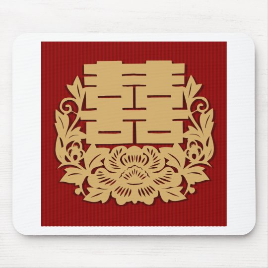 Chinese wedding with double happiness and flower mouse mat