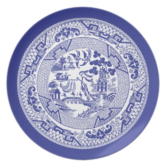 Chinese Willow Pattern Party Plate