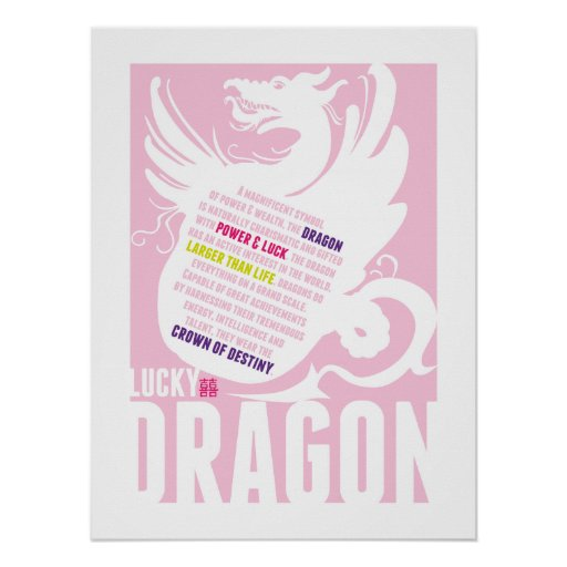 Chinese Year of the Dragon - Girls Room or Shower Print