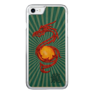 Chinese Year of the Dragon Metalic Red Carved iPhone 8/7 Case