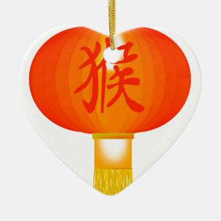 Chinese Year of the Monkey Paper Lantern Ceramic Heart Decoration