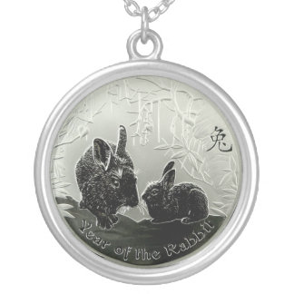 Chinese Year of the Rabbit Silver Plated Necklace