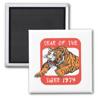 Chinese Year Of The Tiger 1974 Gift Square Magnet