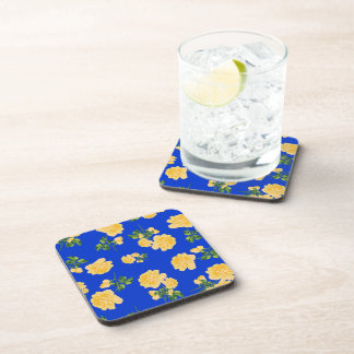 Chinese Yellow roses on blue cork coasters