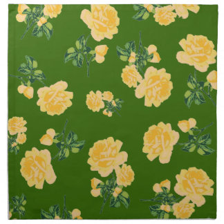 Chinese yellow roses pattern green cloth napkins