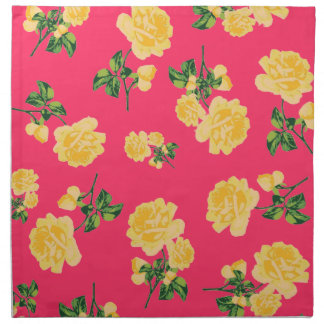 Chinese yellow roses pattern red cloth napkins