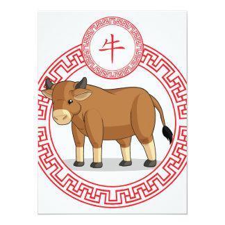 "Chinese Zodiac Animal - Ox 5.5"" X 7.5"" Invitation Card"