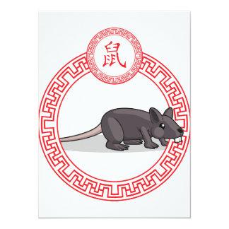 "Chinese Zodiac Animal - Rat 5.5"" X 7.5"" Invitation Card"