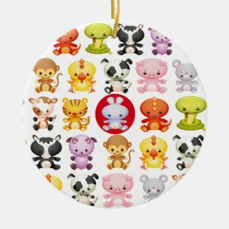 Chinese Zodiac Animals Year of the Rabbit Round Ceramic Decoration